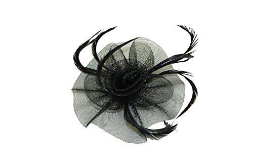 Noir élégant net fleur et plumes fascinateur sur pince cheveux & broche épingle Idéal pour mariages, femmes jour, Ascot, occasion spéciale