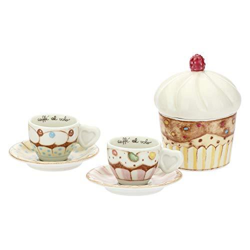 THUN - Set Tazzine caffè da 2 con Zuccheriera, con Decorazione Dolcetti e Cupcake - Accessori Cucina - Linea New Sweet Cake - Porcellana - Zuccheriera con Coperchio 14 h cm
