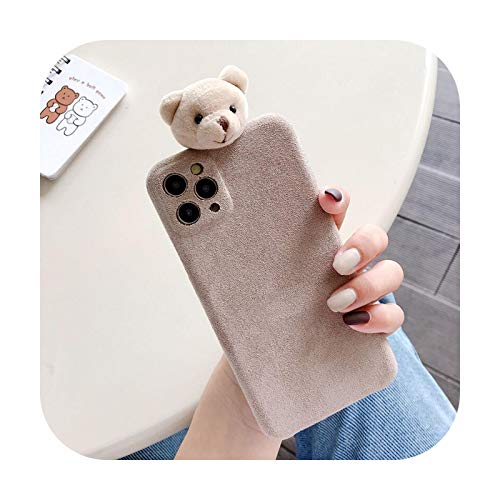 Funda para teléfono móvil de tela de microfibra suave para iPhone 11 Pro Max 7 8 Plus X XR XS Max SE 2020, funda de oso de dibujos animados Funda-WS309-Khaki-For-iphoneXR