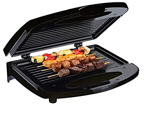 Chefman Electric Contact Grill Griddle, Indoor Dual Closed Sandwich Maker with Nonstick Plates & Cool Touch Handle, for Kitchen & Countertop, 2 Serving, Compact, Black