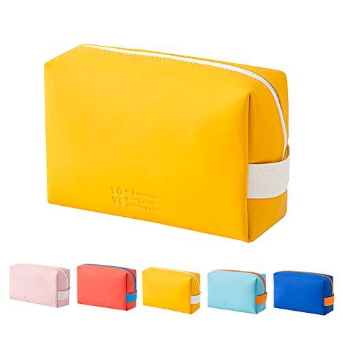 Bolsas de cosméticos portátil para mujer, de piel sintética, lavable, bolsa de cosméticos para viaje, belleza, bolsa organizadora con cremallera