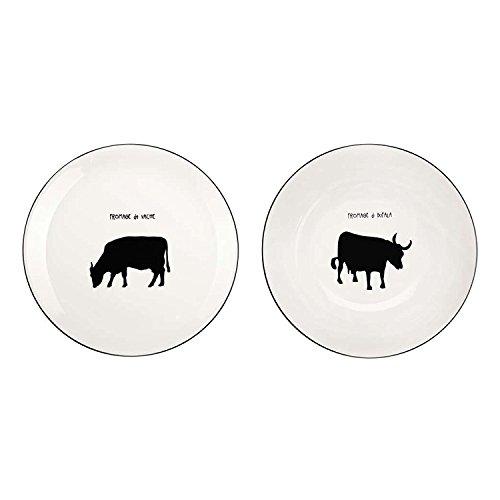 ASA 19051113 Lignen Armoire Assiettes Fromage, Lot de 2, Porcelaine, Blanc/Noir, 21 x 21 x 2 cm 2 unités
