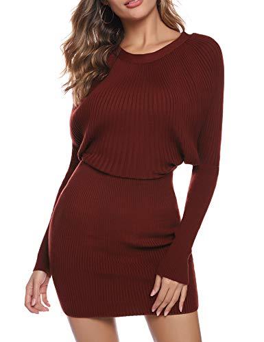 Aibrou Vestidos a Punto Mujer,Vestido Sexy de Una Pieza de Punto elástico,Vestidos de Jersey Manga Larga Vestido Invierno Vestido Fiesta (Vino Rojo, L)