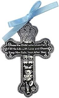 Cathedral Art CM6 Baby Boy Cross Crib Medal, 3-Inch High