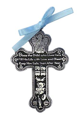 Cathedral Art Medalha de berço CM6 Baby Boy Cross, 7,6 cm de altura