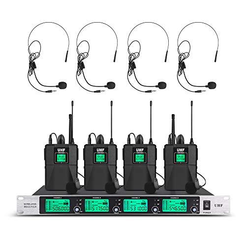 Wireless Microphone System Pro Audio UHF 4 Channel 4 Headset & Lavalier Lapel...