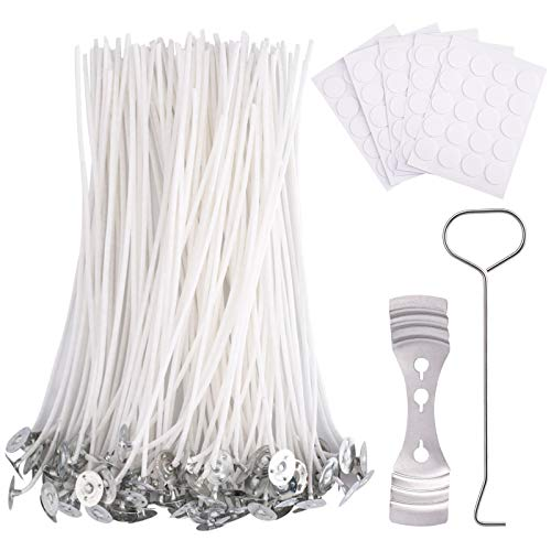 QXUJI 6 Inch Cotton Candle Wick Set - Including 100PCS Candle Wick + 100PCS Candle Wick Stickers + 1PC Centering Device + 1PC Candle Snuffer, for Candle Making,Candle DIY