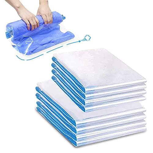 Bolsas al Vacio, Paquete de 8 Bolsas Ahorradoras de Espacio, Bolsa de Almacenamiento al Vacío Enrollada a Mano, Resistente y Fácil de Usar, Reutilizable, Impermeable (50 x 70 cm, 40 x 60 cm)