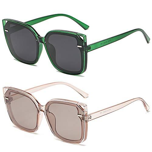 HFSKJ Pack de 2 Gafas de Sol, Gafas de Sol polarizadas Conducir y Conducir Gafas protección UV Las Gafas de uñas de arroz Retro de Moda Son adecuadas para Hombres y Mujeres,A