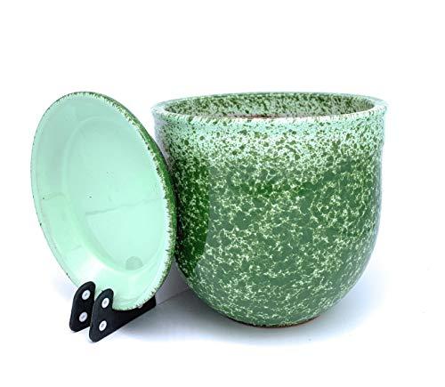 Zonnekoekjes Geglazuurde Terracotta Bloempot met schotel Ronde Planter met Druppelbak Plant Pot Klei Gekleurde Bloemenring 26cm x 22cm Munt