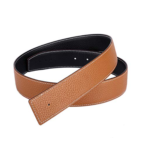 Vatee's Reversible Genuine Leather Belts For Men/Women Replacement Belt Strap Without Buckle 1.5'(38mm) Wide 43'(110cm) Long Black & Yellow