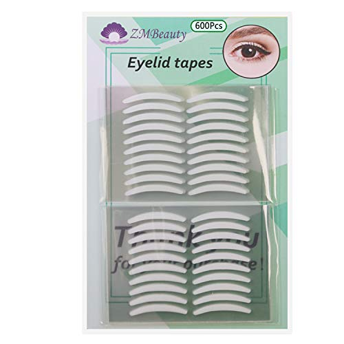 600pcs/300 Pairs Invisible Slim Single-Sided Eyelid Tapes Stickers, Medical-use Fiber Eyelid Strips, Instant lift Eye Lid Without Surgery, Perfect for Hooded, Droopy, Uneven, Mono-eyelids