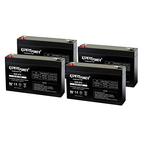 ExpertPower 6Volt 7AH Sealed Lead Acid (SLA) Battery with F1 Terminal EXP670 Replaces Powertron PEA6V65F3 (4 Pack)