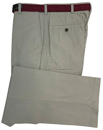 Haggar Men's Classic Fit Belted Summer Poplin Plain-Front Pant (33/32, Khaki)