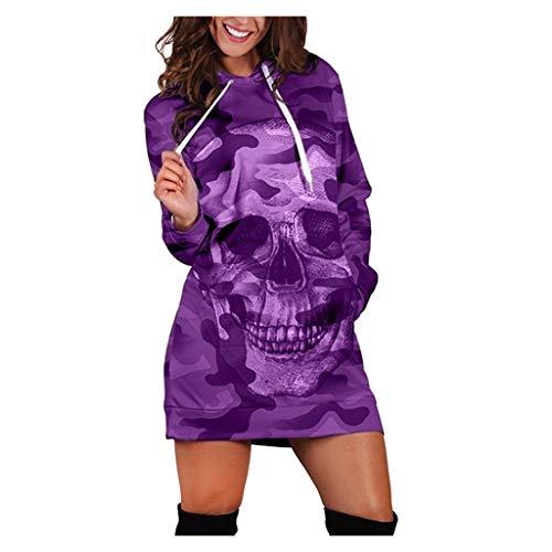 PKTOP Frauen Langarm Sweatshirt Casual Hooded Camouflage Schädel Print Minikleid Gr. 48, violett