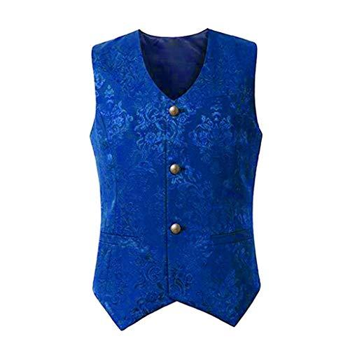 Yowablo Herren Weste Anzugweste Elegant Basic Weste Stilvoll Vest Regular Design Button Frack (S,Blau)