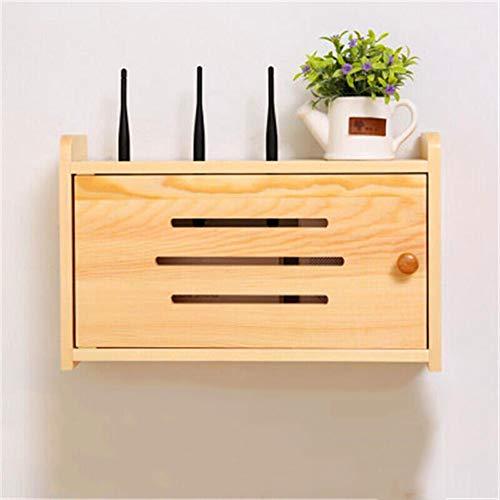 SXFYHXY Estante Flotante Enrutador Caja de Almacenamiento Caja de línea de protección de zócalo Caja de Madera Maciza WiFi Estante enchufable for Colgar en la Pared