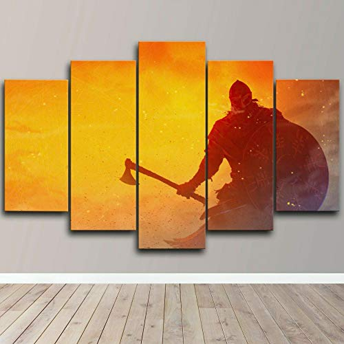 AWER 5 Pieces Canvas Wall Art Warrior Axe And Shield 5 Panel Canvas Wall Art for Living Room Large Size Picture Custom Premium Quality Artwork Gallery-Wrapped Ready to Hang