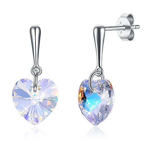 OMZBM Heart Shaped Crystal Drop Ohrringe Farbe 925 Sterling Silber Hypoallergen Ohrstecker Girl Plating White Gold