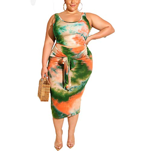 Womens Sexy Plus Size Tie Dye Print Tanks Crop Top Bandage Bodycon 2 Pieces Long Midi Pencil Dresses Outfits Skirt Set Dark Green 2XL