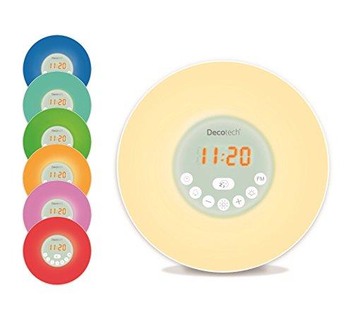 Lexibook Decotech, RL998 Kleurige lichtwekker, weklicht, zonsopgang, zonsondergang-simulatie, 6 natuurlijke alarmtonen, snooze, nachtlampje, wit