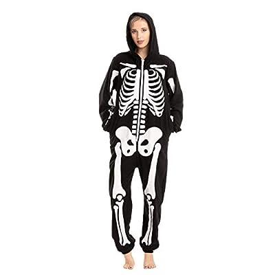 Adult Unisex Skeleton Plush Pajamas Onesie (Large) Black from