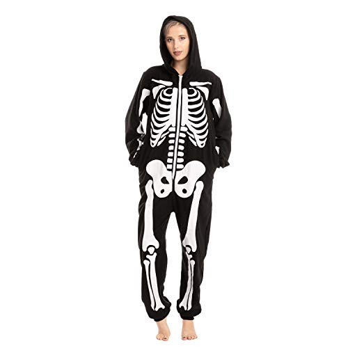 Adult Unisex Skeleton Plush Pajamas Onesie (Large) Black