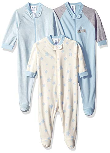 Gerber Baby Boys' 3-Pack Organic Sleep 'N Play, Little Star, 0-3 Months