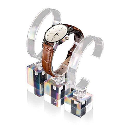 LANSCOERY Acryl Uhrenständer Armbanduhr Halterung Schmuckständer für Männer Frau 3 Stück