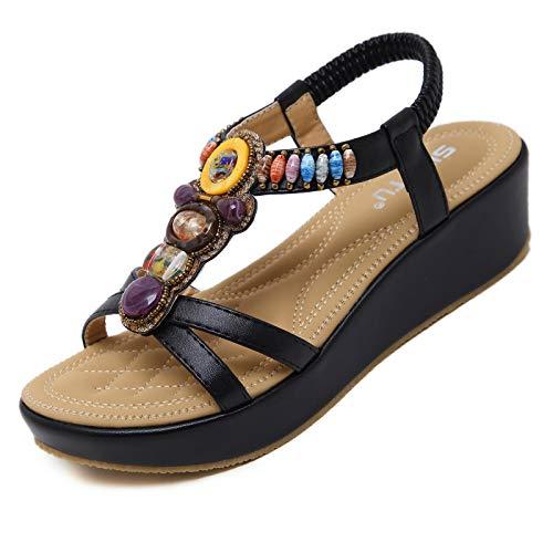 GEWEO Sandalia Bohemia con Cordones Verano Mujer Zapatos de Punta Descubierta Tacón...