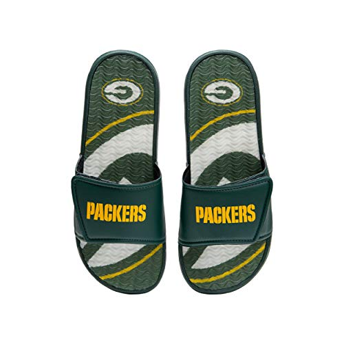 FOCO NFL Green Bay Packers Mens Sport Shower Gel Slide Flip Flop SandalsSport Shower Gel Slide Flip Flop Sandals, Wordmark, Large (11-12) (FFSSNFCBBLGGEL)