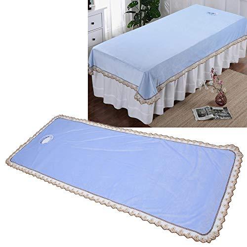 Sábana de mesa de masaje, sábana de cama de belleza spa, sábana de cubierta de mesa de masaje profesional de spa, colcha de cama de masaje con orificio para tienda de belleza(Azul)