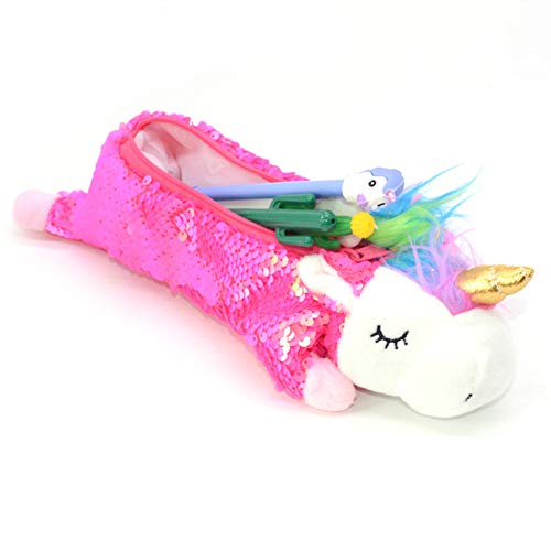 Reversible Sequin Unicorn Pencil Case school supplies Cute Girls Plush Pen Pouch pencil box Stationery Supplies| Unicorn Makeup Bag (ROSE)