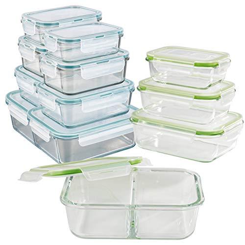 GOURMETmaxx Set de 12 contenedores de alimentos de vidrio, incluyendo la tapa | cierre cuádruple y sello de silicona | perfecta conservación del aroma de la comida