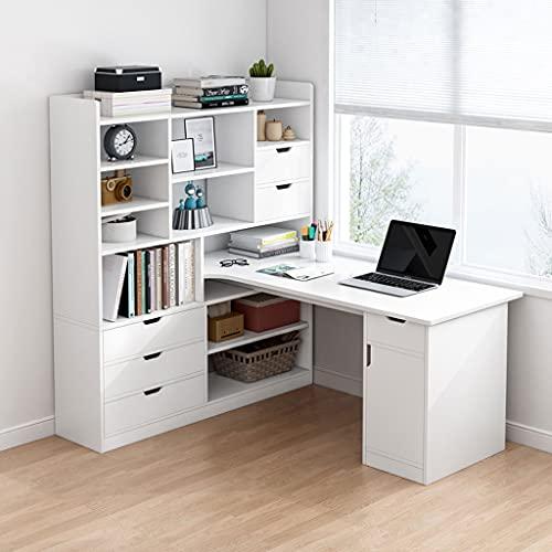SHENXINCI Scrivania per Computer, a Forma di L, Scrivania e Libreria Tutto in Uno,Scrivania Porta Computer Multifunzione Integrata con Scaffale,con Libreria e 4 Cassetti,3 Colori/2 Dimensioni