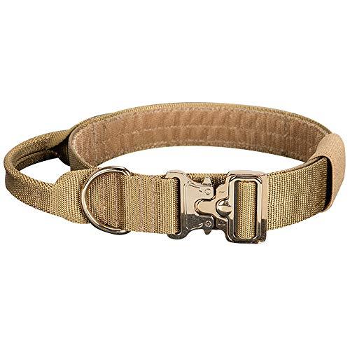 """EXCELLENT ELITE SPANKER Tactical Nylon Halsband Hund Einstellbar 16""""-23"""" Weiches mit Griff für Mittelgroße oder Große Hunde Schwarz Braun(Braun)"""