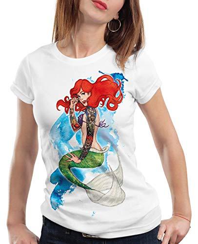 style3 Ariel Sirena Camiseta para Mujer T-Shirt Sirenita tatuar USA, Color:Blanco, Talla:M