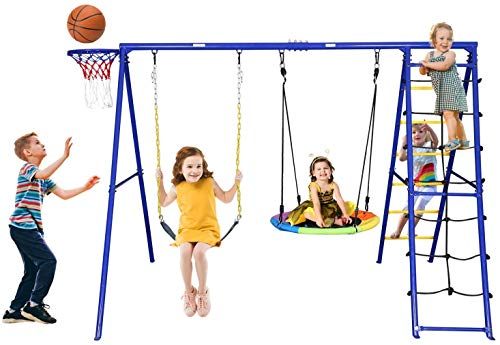 Trekassy 440lbs Swing Set with Heavy Duty A-Frame Metal Swing Stand, 1 Saucer Swing, 1 Belt Swing, 1 Climbing Net, 1 Climbing Ladder, 1 Basketball Hoop