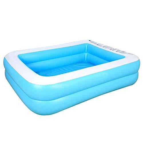 Hpory Piscina infantil rectangular para niños, piscina inflable familiar, centro de natación azul (128 cm)