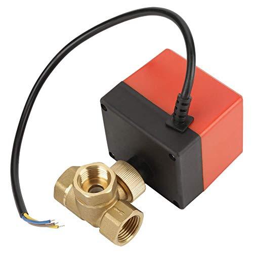 OGUAN Válvula eléctrica, Válvula de Bola motorizada, G1 / 2' DN15 Brass 3 Way Bola 220VAC Válvula motorizada eléctrica for el Control de Flujo Grifo de Ducha termostática,