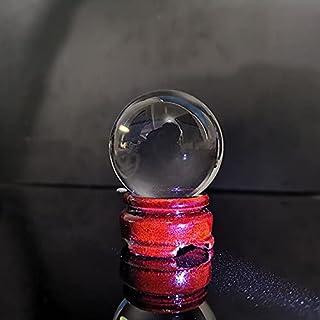 WHHHuan 1 boule de cristal transparente porte-bonheur pour enfant, boule de cristal (couleur : base en bois, taille : 50 mm)
