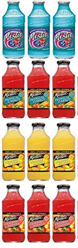 LUV-BOX Variety MISTIC JUICE DRINK pack , pack of 12 , 16 fl oz , Glass bottle , BAHAMA BLUEBERRY , ORANGE MANGO , STRAWBERRY BANANA ,TROPICAL CARROT