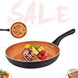 FRUITEAM 9 1/2 inch Fry Pan Non-stick Frying Pan with Lid, Aluminum Cookware with Induction Plate...