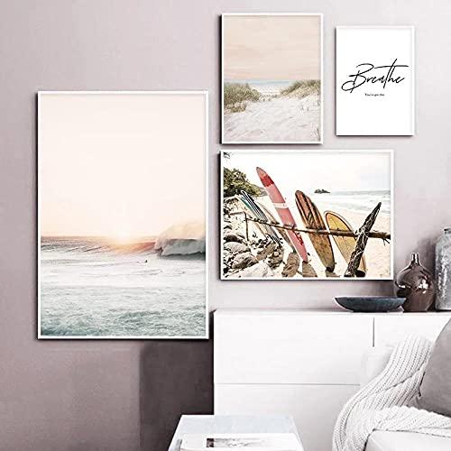 Mar playa cartel de viaje tropical impresión nórdica puesta de sol tabla de surf lienzo imagen artística pintura paisaje marino costero 30x50cm 40x60cm 50x70cm 60x80cm sin marco
