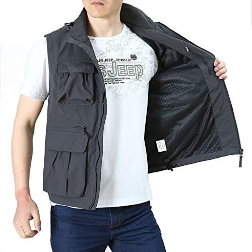 HLD Summer dunne stijl vest outdoor mannen vest ongedwongen lente en de herfst multi-pocket zomer buiten te dragen vest Gilets (Color : Gray, Size : XXXL)