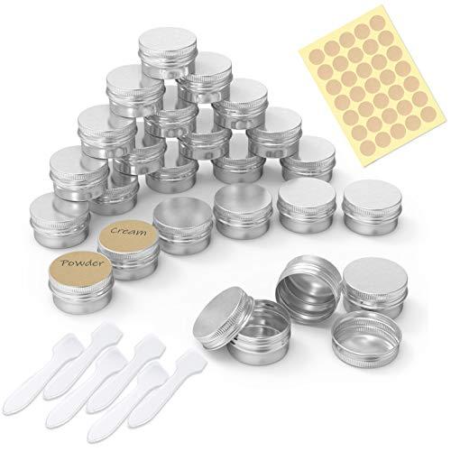 PAMIYO 24 Stücke Set Aluminium Leer Döschen (Mit 2 Stücke runde Aufkleber), 5ml Leere Dosen mit Schraubdeckel für lippenbalsam, Lotion, Creme, Masken, Mini-Kerzen, Kosmetik(Silber)