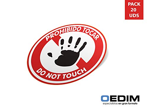 Oedim Pack 20 Señales de Pegatina Prohibido Tocar con Texto | Fabricadas en Polipropileno | 10x10 cm| Adhesivo Resistente y Económico | Pegatina Adhesiva Decorativa