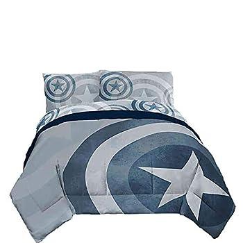 Marvel Captain America Adults Full Size Duvet Cover Set 3 pc - Duvet Cover with 2 Pillowcases