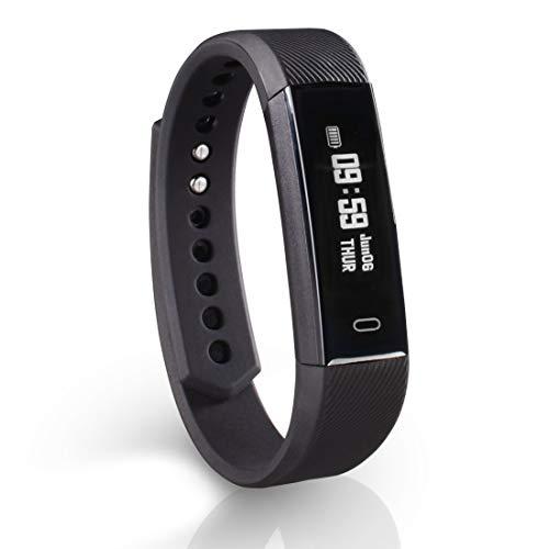 Hama Fitness-Armband mit Pulsmesser (Fitness-Uhr mit Kalorienzähler, Schrittzähler, Schlafmonitor, schmaler Fitness Tracker mit App, Vibrations-Wecker, Bewegungserinnerung) schwarz