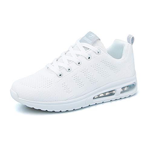 Hoylson Damen Sportschuhe Sneaker Fitness Turnschuh Leicht Flach Walkingschuhe Tennisschuhe (Weiß,EU 37)